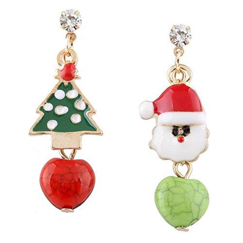 scrox 1x Christmas Kostüm Schmuck Funkelnde Kristall Strass Weihnachten Hat und Weihnachtsbaum Ohrringe Ohrringe für gepiercte Ohren