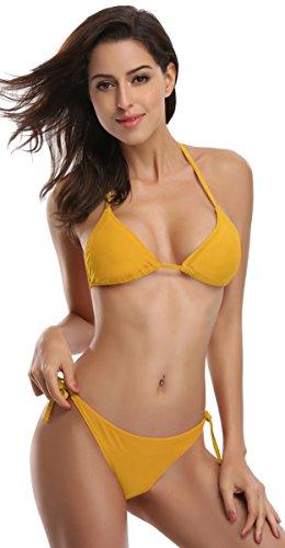 SHEKINI Damen Bikini Set Einfarbig Und Muster Zweiteiliger Badeanzug Mit Triangle Push Up Bandeau Padded Bandage Bikinihose (XL, Khaki) -