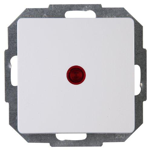 Kopp Paris Kontrollschalter (Aus- und Wechselschalter) beleuchtet, Lichtschalter für den Haushalt, 250 V (10A), IP20, Unterputz, einfache Wandmontage, arktis-weiß, 651693084