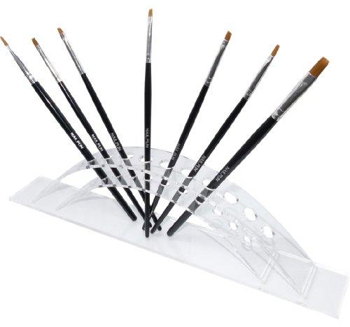 7 pinceaux + Support en kit - 7 pièces de haute qualité professionnel Nail Art et gel Pinceau Pinceaux de modelage + Support Acrylique Transparent