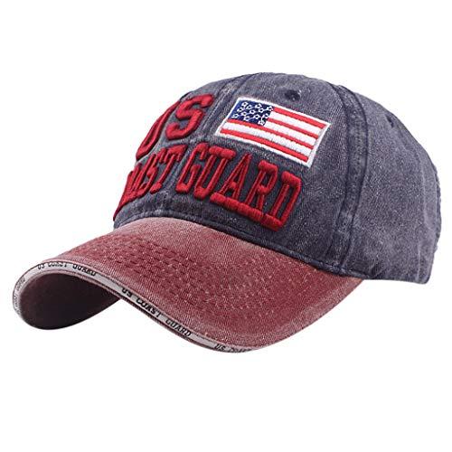 Hip Hop Baseball Cap Herren Damen,❤️Absolute Unisex Flag Stickerei Hat Brief Snapback 2019 Sommer Baseballmütze Outdoor Kappen Mode Zufällige Hüte Denim Cap Sport Sonnenhüte (Marine)
