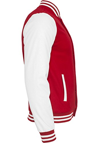 Urban Classics TB201 Herren Jacke Bekleidung Oldschool College Jacket - Rouge/blanc