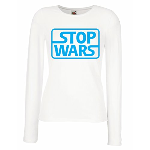 lepni.me Manches longues Femme T-shirt arrêter les guerres - citations de questions politiques - Garder la paix Blanc Bleu