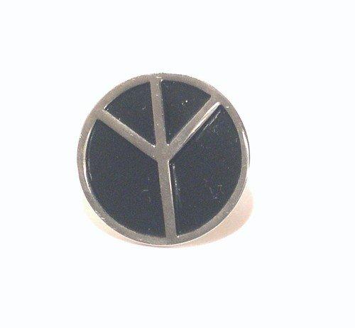 Brosche, Peace-Zeichen, Metall / Emaille, Schwarz -