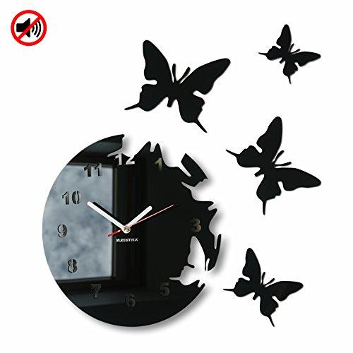 Große moderne Wanduhr Schmetterling Schwarz rund 30cm, 3d DIY, Wohnzimmer, Schlafzimmer, Kinderzimmer Große Schwarze Wanduhr