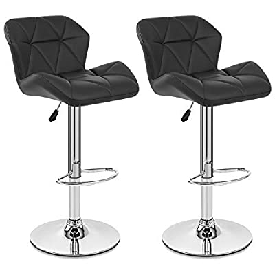 Neotechs® 2 x Black Diamond Chrome Base Gas Lift Swivel Faux Leather Kitchen Breakfast Bar Stool produced by Neotechs® - quick delivery from UK.