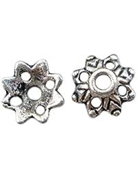 Housweety Bijoux Accessoires 150 Perles Coupelles Fleur ajoure 8x3mm