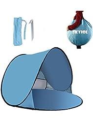 SKYIOL Pop-up Tienda, Svance Paravientos para Playa con Bolsa de Transporte, Protección UV 50 + (Azul)