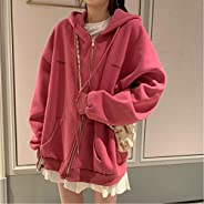 Hoodies Women Harajuku Streetwear Kawaii Oversized Zip Up Sweatshirt Clothing Korean Style Long Sleeve Tops