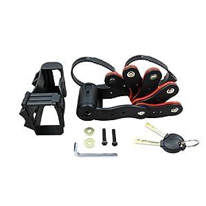 –Candado plegable con llave, candado con soporte y dos llaves de bicicleta, incl. Soporte | Candado rojo y negro., Schwarz & Rot