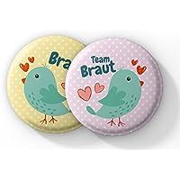 "12er Set ""Vogelhochzeit"" süße Anstecker - JGA Buttons Set – Junggesellinnenabschied Frauen Buttons als Bachelorette Party Accessoires"