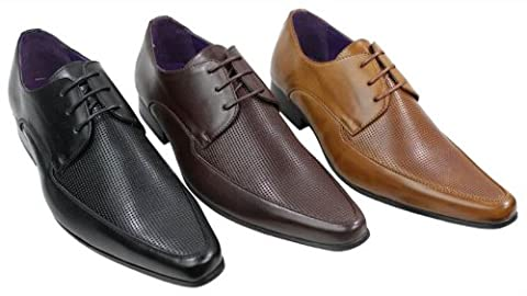 Mens Black Brown Tan Leather Shoes Italian Design Laced Smart Casual Perforated