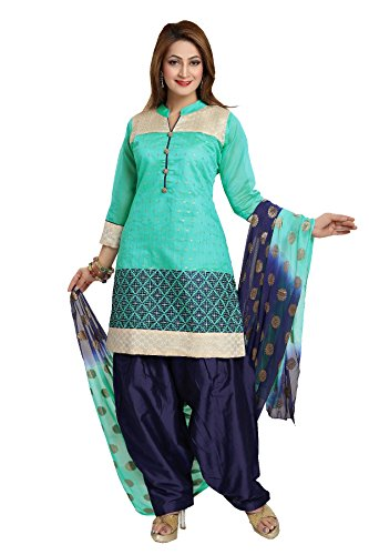 IDHA Soft Chanderi Embroidery Ethnic Stitched Suits for Women - Turquoise / Blue