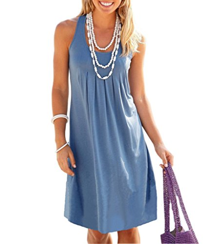 Dromild Women's Sleeveness chemise de nuit coton chemise de nuit Ruffee Hem vêtements de nuit bleu XXL