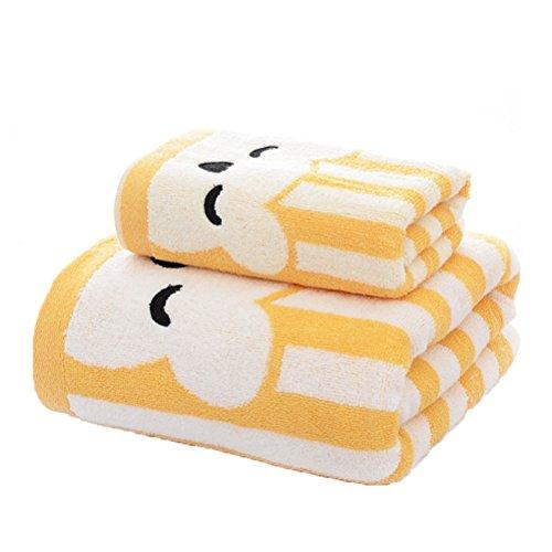 Qikuo-bath asciugamano da bagno, asciugamano in cotone casa asciugamano nuovo jacquard in tinta unita spugna da bagno 32 parti, specifiche 140 * 70cm, cura della pelle morbida naturale, giallo