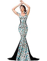Gabriela Boutique - Vestido de mujer, para fiesta o baile, largo, plateado y negro, talla M