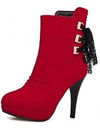 AllhqFashion Damen Hoher Absatz Spitz Zehe Blend-Materialien Stiefel, Rot, 33