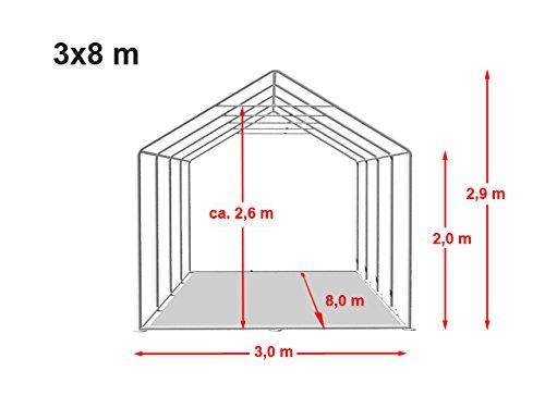 Feuersicheres Lagerzelt mit Bodenrahmen und Dachverstärkung 3x8 m, hochwertige 500g/m² PVC Plane feuersicher nach DIN in weiß, 100% wasserdicht, vollverzinkte Stahlkonstruktion -