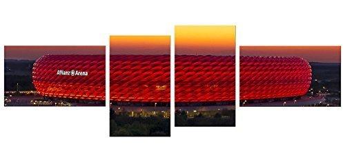 BILDERFABRIK - Fussballarena München (4-teilig) - auf Leinwand und Holzkeilrahmen bespannt - verschiedene Größen. Beste HD-Qualität, handgefertigt in Deutschland. (55 x 166 cm (4 x 30x50 cm))