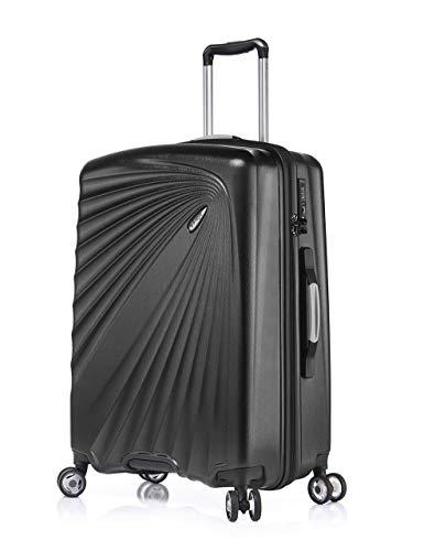 Verage Kinetic Leichter Hartschalen-Koffer (L-76cm-127 Liter, Metallic Schwarz), TSA integriert, 4 Rollen ABS/PC Trolley mit Sicherheits-Reißverschluss