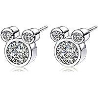 Epoch World Damen Ohrringe 925 Sterling Silber Ohrstecker Maus Ohrringe Stecker mit Zirkonias Silber Ohrringe für Frauen Mädchen Kinder