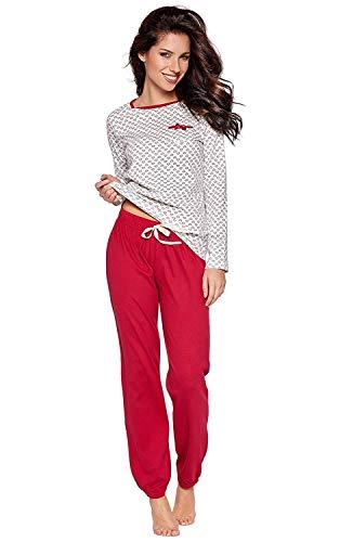 Moonline süßer und bequemer Damen Schlafanzug aus 100% weicher Baumwolle, mit Herzchen-Muster, Creme, Gr. XL (48/50) -