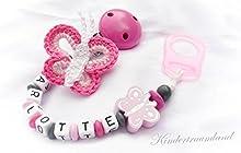 Cadena para chupete con nombres, mariposa, rosa, rosa, gris, niña