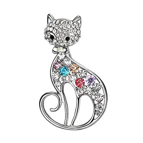 CTGVH Chat Mignon Broche pour Les Filles Femmes Bijoux, Style Simple Creative Belle Forme de Chat Diamant Pin Grand Cadeau pour Bijoux Femme élégante