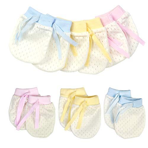 KATOOM 6 Paar Baby Anti Scratch Handschuhe Fäustlinge Neugeborene Baumwollhandschuhe Infant Kleinkind Jungen Mädchen Kratzhandschuhe Säugling Kratzfäustel Kratzfäustlinge für Baby Care(0-12 Monaten)