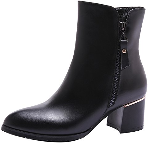 ELEHOT Donna Eleear tacco a blocco 5CM Leather Stivali, nero,