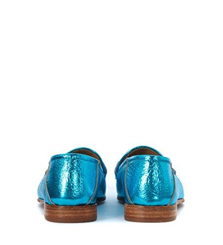 Mocassino Azzurro LEMARE Laminata in Pelle craccata Azzurro aqHHfnwBd