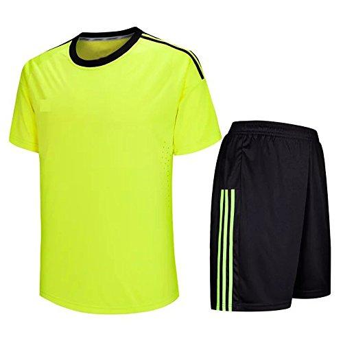 XFentech Fußball-Trikot, Kurzarm-Fußball-T-Shirt + Fußball-Hosen, Fußball-Trainings-Kleidung/Fußball-Match-Anzug für Herren und Jungen (Leuchtendes Grün,EU L = Tag XL)