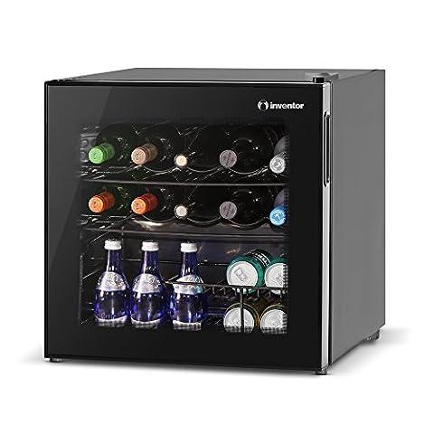 Inventor Vino Cave à Vin Réfrigérée 49L, Porte Vitrée Réversible à Filtre UV (10 bouteilles, 5°C - 18°C, panier pour les canettes ) Bas Niveau Sonore