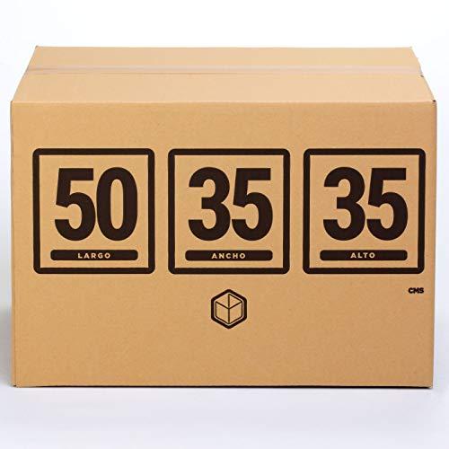 10x Cajas para Mudanza | Caja de Cartón TeleCajas | Onda Doble Reforzada, con Asas | 50x35x35 cms...