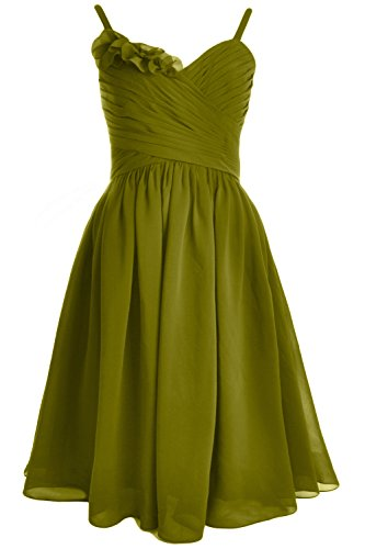 MACloth Women Straps Chiffon Short Bridesmaid Dress Wedding Party Formal Gown Olive Green