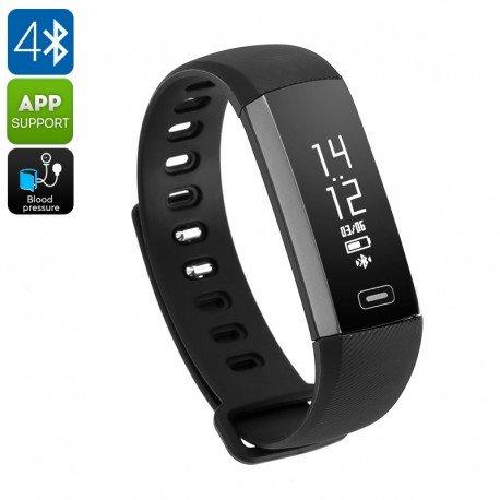 Fitness Tracker Armband M2S–IP67, Blutdruck, Blut Sauerstoff, Pulsmessgerät, Kalorienzähler, Schrittzähler (schwarz)