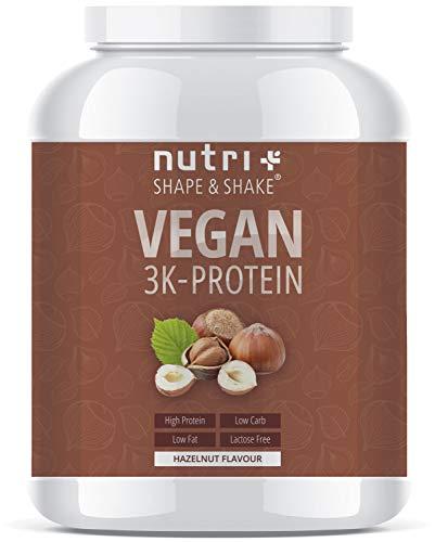 PROTEINPULVER VEGAN Haselnuss 1kg - 83,5% Eiweiß - Shape & Shake 3k-Protein Nuss - Nutri-Plus Veganes Eiweißpulver ohne Lactose, Milch & Whey - In Deutschland hergestellt