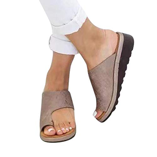 c4a58bac29303 Summer Beach Travel Shoes Women Comfy Platform Sandal PU Leather Leather  Feet Correct Flat Sole Dating Shopping Pantofole Morbide