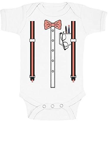 Costume du Bébé sage futur intello Déguisement Halloween Body Bébé Manche Courte 18-24 Mois