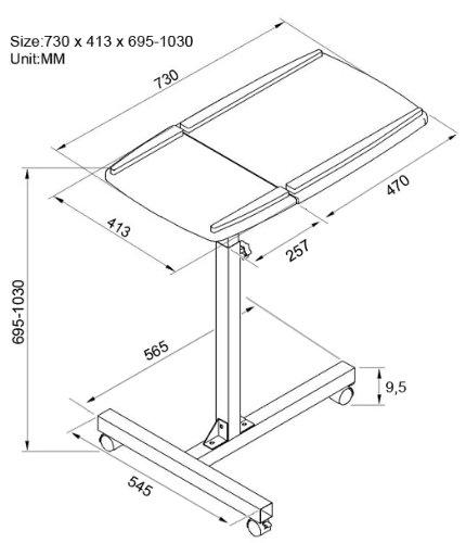 SixBros. Laptoptisch Projektionstisch Weiß – LT-001A/2084 – MDF Weiß – Gestell Metall Weiß - 7