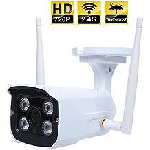 Cámara Impermeable Metálica Video Vigilancia Exterior e Interior IP WiFi P2P Camara IR Nocturna HD 720p 1,0 Megapixels con detección de movimientos. Outdoor Waterproof WiFi Camera MarvTek de 1280 x 720P Resolución (HD720P EXTERIOR)