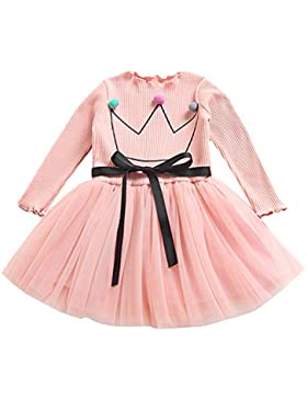 JYJM 2018 Babykleidung Prinzessin Kleid Mädchen langärmelige Blumen Gaze Kleid Prinzessin Kleid Mode Babykleid...