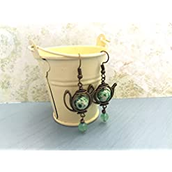 Quirky brass teapot earrings with green recycled beads