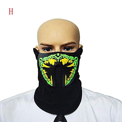 Leuchtend LED Halloween Masken,Saingace LED Halloween Ostern Rave Maske Leucht Kostüm Maske Ostern Dekor Maske Für Festival,Cosplay,Halloween,Kostüm,Batterie Angetrieben (H)