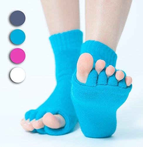 Zehenspreizer Socken 1 Paar - Zehenstrecker Hallux Valgus Pediküre (Blau)