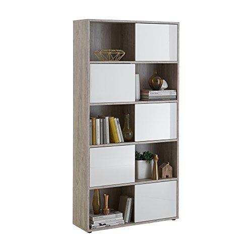FMD Möbel 217-202 Regal Holz, sandeiche / hochglanz-weiß, 90 x 33 x 182 cm