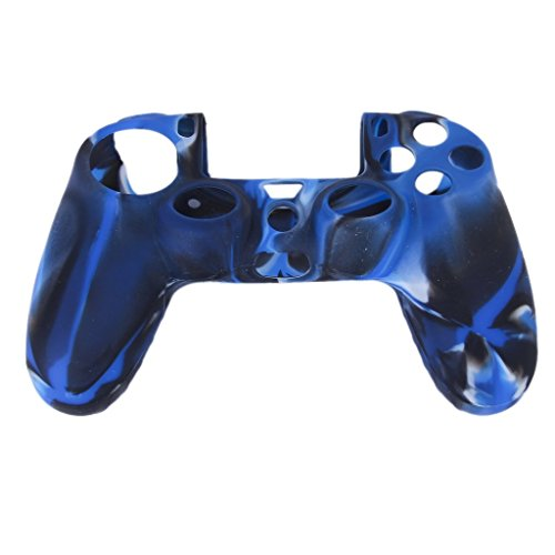 Imported Camo Silicone Protective Skin Case Cover for Sony PlayStation 4 PS4 Controller --Navy with Black  available at amazon for Rs.170
