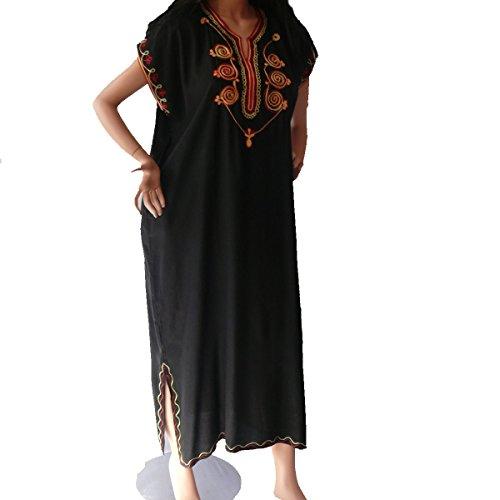 Marrakech Accessoires Orientalisches Kleid Kaftan Tunikakleid Strandkleid Sommerkleid Maxi, schwarz-rot, Grösse:L