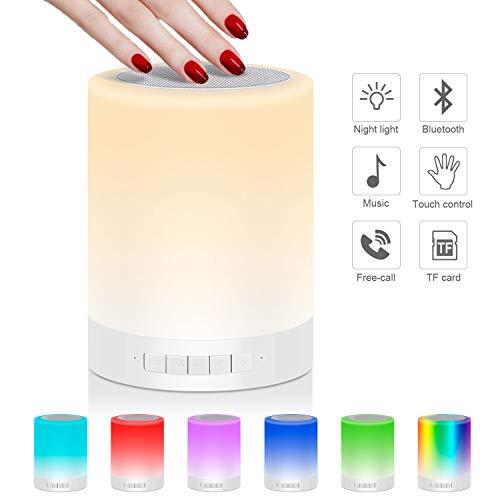 Nachttischlampe Stimmungslicht mit Bluetooth Lautsprecher, USB Wiederaufladbar Smart Touch Control Nachtlicht Musik Spielen RGB-Farbwechsel TF-Karte Tischlampe für Schlafzimmer Kinder Geschenk