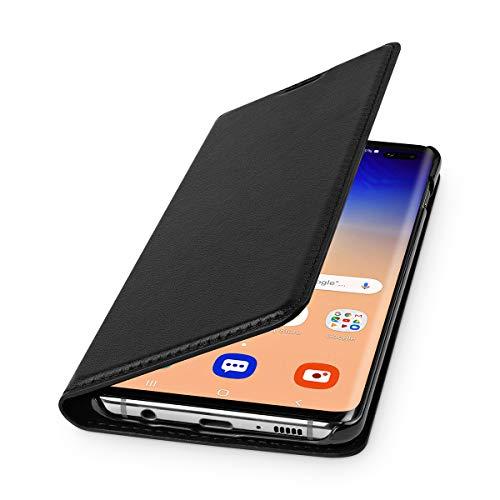 WIIUKA Echt Ledertasche - TRAVEL - für Samsung Galaxy S10+ Plus, mit Kartenfach, extra Dünn, Tasche Schwarz, Leder Hülle kompatibel mit Samsung Galaxy S10+ Plus